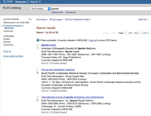 NLM Catalog Screenshot