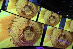 Curved TVs on display in the CES exhibition hall