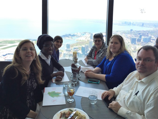 The team enjoying lunch at the CN Tower